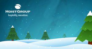 night scene of winter christmas tree with snow